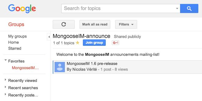MongooseIM mailing list